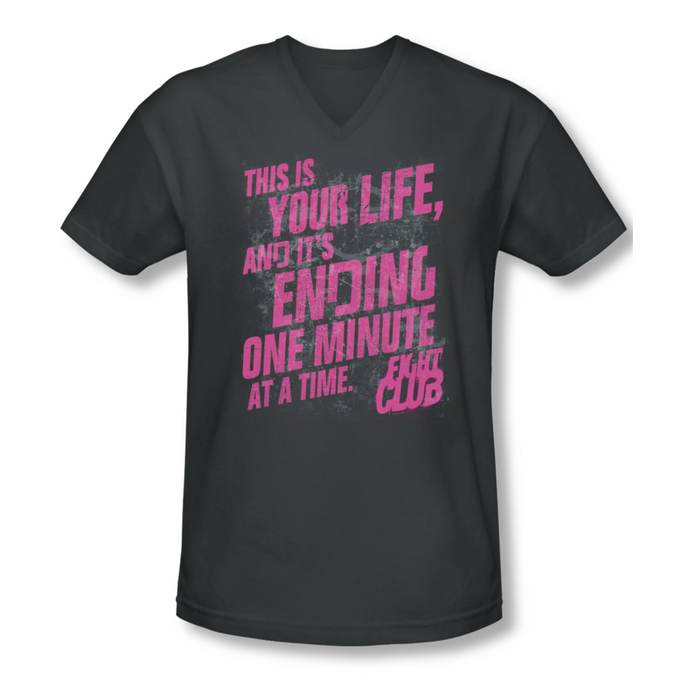 Fight club shirt slim fit v neck life ending charcoal tee for T shirts for clubs