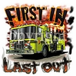 Firefighters T-Shirts - First In, Last Out USA Patriotic Fireman Tee