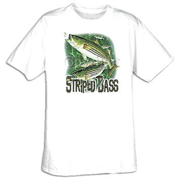Fishing t shirt striped bass fish adult tee shirt for Bass fishing shirt