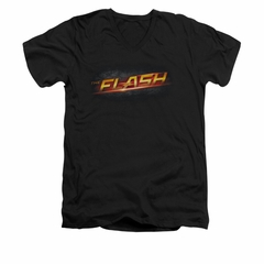Flash Shirt Slim Fit V-Neck Logo Black T-Shirt