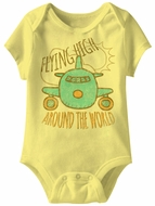 Flying High Around The World Funny Baby Romper Yellow Infant Babies Creeper