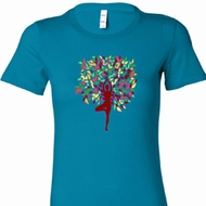 Foliage Tree Pose Ladies Yoga Shirts