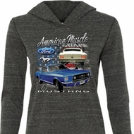 Ford American Muscle 1967 Mustang Ladies Tri Blend Hoodie Shirt