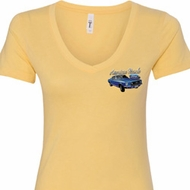 Ford American Muscle 1967 Mustang Pocket Print Ladies V-Neck Shirt