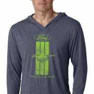 Ford Green Mustang Stripe Lightweight Hoodie Tee