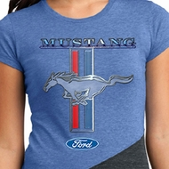 Ford Ladies Shirt Mustang Stripe Tri Blend Crewneck Tee T-Shirt
