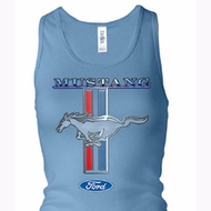 Ford Ladies Tanktop Mustang Stripe Longer Length Racerback Tank Top