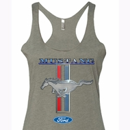 Ford Ladies Tanktop Mustang Stripe Tri Blend Racerback Tank Top