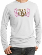 Ford Logo Long Sleeve Thermal - 4x4 Diva Classic Car Adult White Shirt