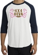Ford Logo Raglan Shirt - 4x4 Diva Classic Car White/Navy T-Shirt