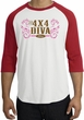 Ford Logo Raglan Shirt - 4x4 Diva Classic Car White/Red T-Shirt