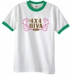 Ford Logo Ringer T-Shirt - 4x4 Diva Classic Car White/Kelly Green Tee