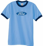 Ford Logo Ringer T-Shirt - Oval Emblem Adult Carolina Blue/Navy Tee