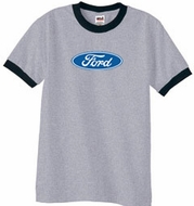 Ford Logo Ringer T-Shirt - Oval Emblem Adult Heather Grey/Black Tee