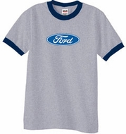 Ford Logo Ringer T-Shirt - Oval Emblem Adult Heather Grey/Navy Tee