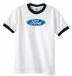 Ford Logo Ringer T-Shirt - Oval Emblem Adult White/Black Tee