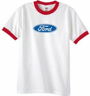 Ford Logo Ringer T-Shirt - Oval Emblem Adult White/Red Tee