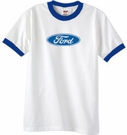 Ford Logo Ringer T-Shirt - Oval Emblem Adult White/Royal Tee