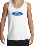 Ford Logo Tank Top - Oval Emblem Classic Car Adult White Tanktop