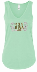 Ford Logo Tanktop 4X4 Diva Ladies Flowy V-neck Tank Top