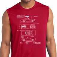 Ford Mustang Blue Print Dry Wicking Sleeveless Shirt