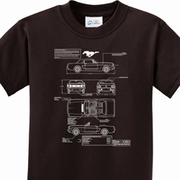 Ford Mustang Blue Print Kids Shirts