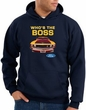 Ford Mustang Boss Hoodie Sweatshirt - Who's The Boss 302 Navy Hoody