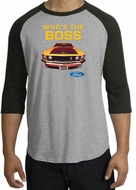 Ford Mustang Boss Raglan Shirt - Who's The Boss 302 Heather Grey/Black