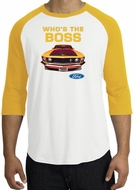 Ford Mustang Boss Raglan Shirt - Who's The Boss 302 White/Gold T-Shirt