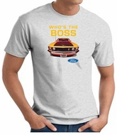Ford Mustang Boss T-Shirt - Who's The Boss 302 Adult Ash Tee Shirt