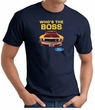 Ford Mustang Boss T-Shirt - Who's The Boss 302 Adult Navy Tee Shirt