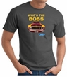 Ford Mustang Boss T-Shirt - Who's The Boss 302 Charcoal Tee Shirt