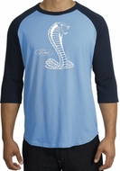 Ford Mustang Cobra Raglan T-shirt - Adult Carolina Blue/Navy Shirt