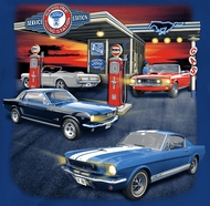 Ford Mustang Gas Station Mens T-shirt - Ford Blue Tee Shirt