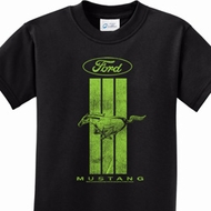 Ford Mustang Green Stripe Kids Shirts