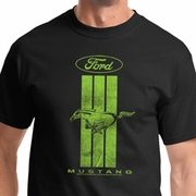 Ford Mustang Green Stripe Mens Shirts
