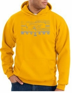 Ford Mustang Hoodie Hooded Sweatshirt Honeycomb Grille Gold Hoody