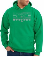 Ford Mustang Hoodie Hooded Sweatshirt Honeycomb Grille Kelly Green