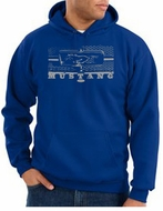 Ford Mustang Hoodie Hooded Sweatshirt Honeycomb Grille Royal Hoody