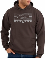 Ford Mustang Hoodie Hooded Sweatshirt Legend Honeycomb Grille Brown