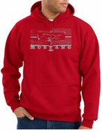 Ford Mustang Hoodie Hooded Sweatshirt Legend Honeycomb Grille Red