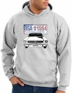 Ford Mustang Hoodie Hooded Sweatshirt USA 1964 Country Ash Hoody
