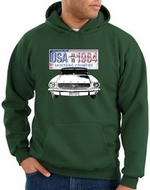 Ford Mustang Hoodie Hooded Sweatshirt USA 1964 Country Dark Green