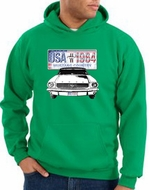 Ford Mustang Hoodie Hooded Sweatshirt USA 1964 Country Kelly Green