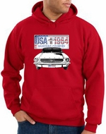 Ford Mustang Hoodie Hooded Sweatshirt USA 1964 Country Red Hoody