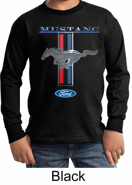 ford mustang kids shirt mustang stripe long sleeve tee t. Black Bedroom Furniture Sets. Home Design Ideas