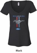 Ford Mustang Ladies Shirt Mustang Stripe Burnout V-neck Tee T-Shirt