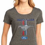 Ford Mustang Ladies Shirt Mustang Stripe Lace Back Tee T-Shirt