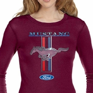 Ford Mustang Ladies Shirt Mustang Stripe Long Sleeve Thermal Tee
