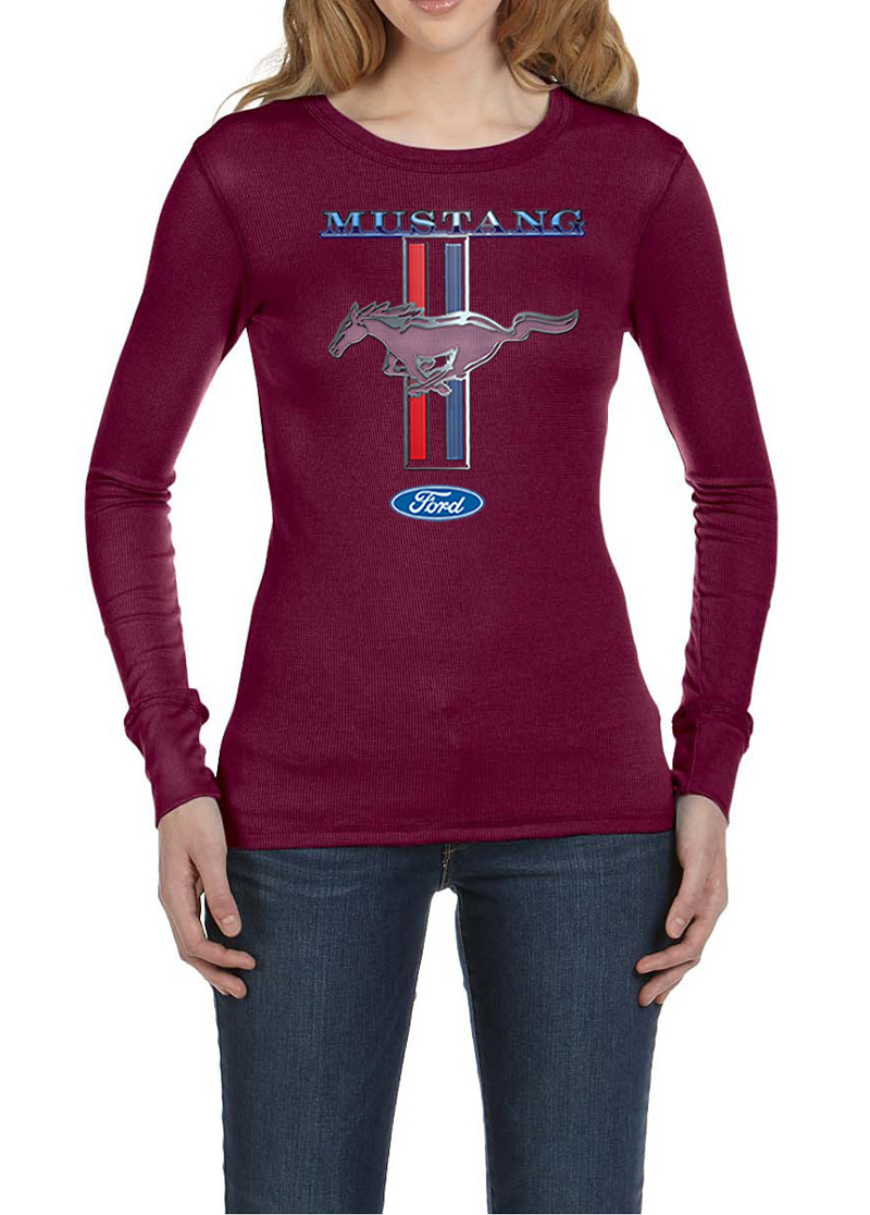 Ford mustang ladies shirt mustang stripe long sleeve for Misses long sleeve tee shirts